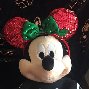 NWT Disney Minnie Mouse Christmas Ears Red & Green